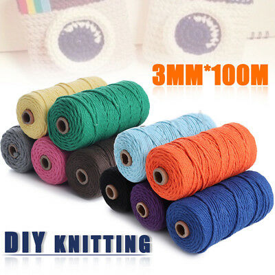 Crafts Braided Macrame Cord String Cotton Rope Twisted 3mmx100m Thread