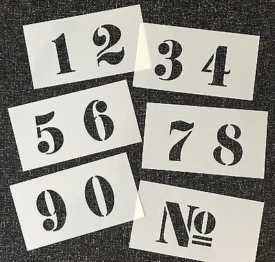 NUMBERS STENCIL number FRENCH STYLE 40mm high on 6 Tough 120 X 65mm Mylar Sheets