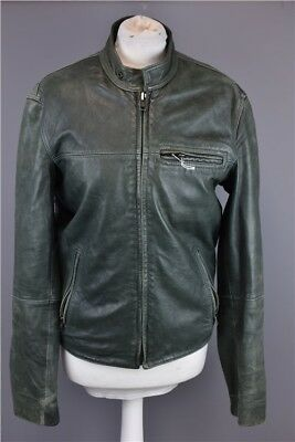 Ladies Green Leather Jacked Biker Style by DKNY Jeans  Size S