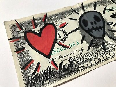 Hayden Kays - SIGNED RARE $2 BILL - acrylic painting - ART - banksy is fan