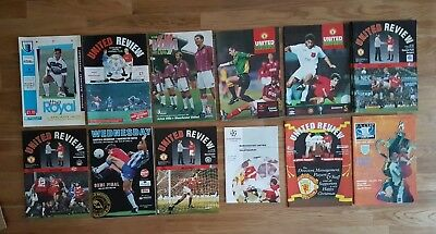 13 Manchester United Programmes from the early 1990s