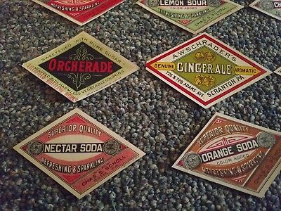 1890's-1915 EARLY DIAMOND SHAPES SODA BOTTLE LABEL COLLECTION 12 Diff Original