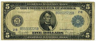 FR. 851A 1914 $5 Federal Reserve Note New York Blue Seal Large Size