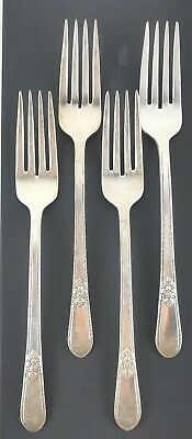 4pc Dinner Forks Silverplate 1847 Rogers Bros IS Adoration Silverware Flatware