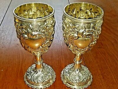 """Tiffany Early COIN Silver GROSJEAN WOODWARD Pair of Goblets 8"""" Tall 1+ lbs total"""