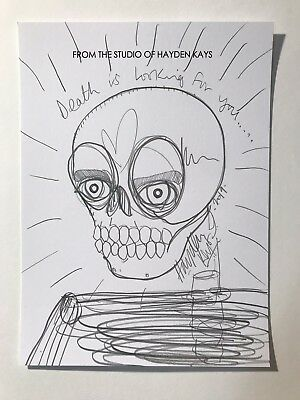 Hayden Kays - ORIGINAL DRAWING - skull death - SIGNED - ART - banksy is fan