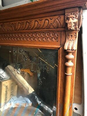large gothic carved mirror flemish oak