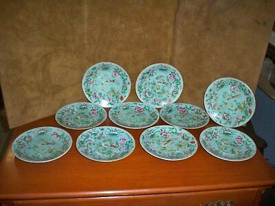 10 Antique Chinese Porcelain Celadon Famille Rose 7.25 Inch Plates (1820)