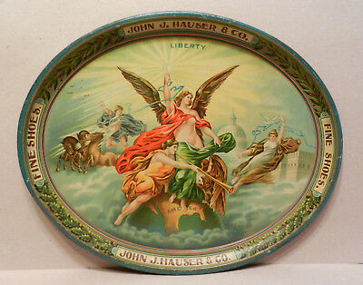 Beautiful early tray John J. Hauser Shoes Allentown, Pa. patriotic Liberty image