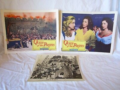 """3 Set 1961 """" Queen Of The Pirates """" Gianna Maria Canale Lobby Card Movie Poster"""