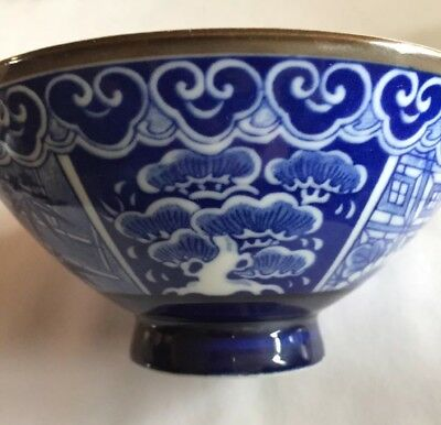 Fine Signed Antique Chinese Hallmark Blue & White Bowl Vintage Goodwill