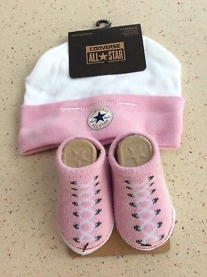 BNWT BABY CONVERSE Pink Hat   Booties Set - Age 0-6 months - £7.75 ... 07e14c0884b9