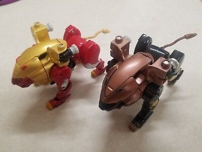 POWER RANGERS WILD Force Red Lion & Black Lion Zord lot of 2