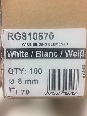 3 BOXES GBC Wire Binding Wires / 8mm A4 34 Loop / White / 100 per box (x3 boxes)