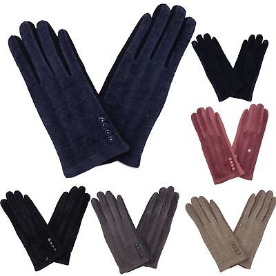 New Winter Stylish Women's Textured Stitched Button Detail Cosy Warm Gloves