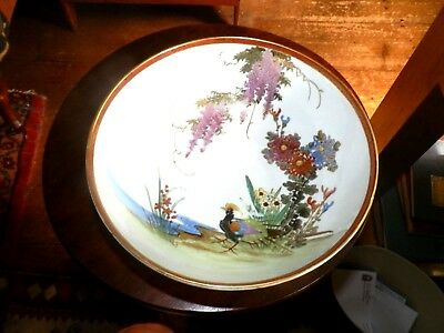 Fine Old Oriental  Painted Porcelain Floral & Exotic Bird Decorated Bowl SIGNED