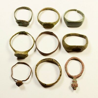 Mixed Lot Of 9 Roman / Post Medieval Rings - Great Artifacts