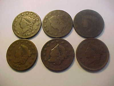 1818 1819 1820 1830 1833 & 1837  Six Coronet Head Large Cent Nice 6 Coin Lot