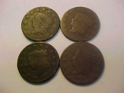 Four 1822 Scarce Date  Coronet Head Large Cent Nice 4 Key Date  Coin Lot