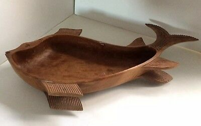 Large Rustic Carved Wooden Fish Shaped Fruit Bowl