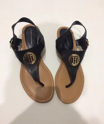 ec40738ee27e Tommy Hilfiger T-Strap Sandals Navy Blue and Gold Women Size 8