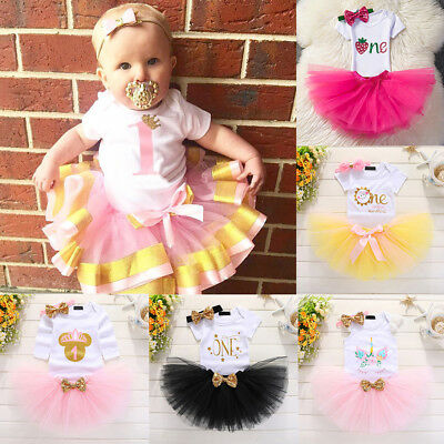 Baby Girl 1st First Birthday Unicorn Tutu Dress Romper Skirts Cake Smash Outfits
