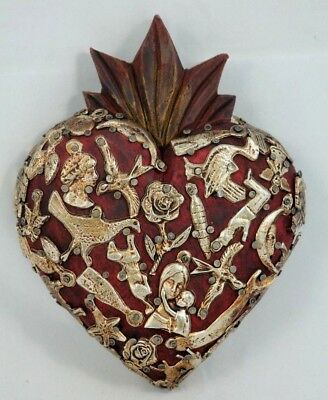 Mexican Wood Hanging Heart w Milagros Hand Made Folk Art Collectible Garnet/Red