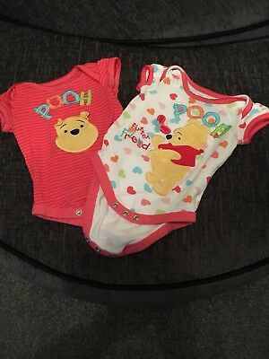 2x Cute Winnie The Pooh Vests 0-3 Months From Disney Store