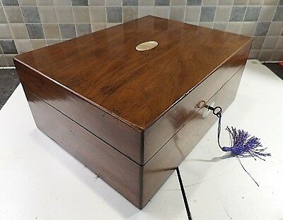 Victorian Inlaid Walnut Veneered Sewing Box- Original Interior+ Tray- Lock & Key