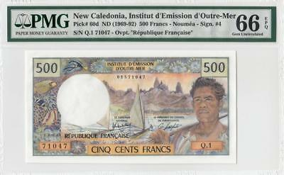 1969-92 New Caledonia 500 Francs French **noumea** (( Pmg 66 Epq ))