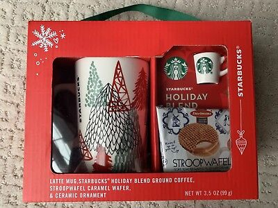 NEW STARBUCKS 2018 Holiday 4 Piece Gift Set Latte Mug+ Ornament+ More!