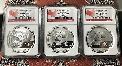 2014 China S10Y Silver Panda (3 Coins) NGC MS70 Early Releases Country Label