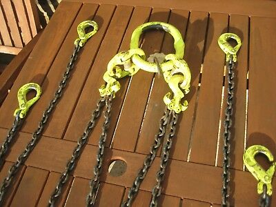 Lifting Chains 4 legged with shortening hooks 1.5M chain Heavy Duty