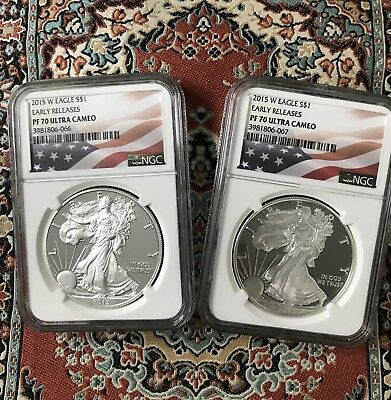 2015 W Silver Eagle (lot of 2) S$1 NGC PF70 Early Releases American Flag Label