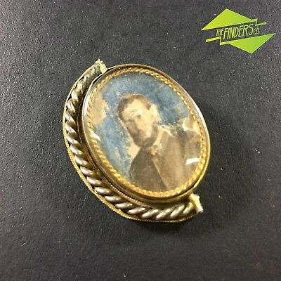 INTERESTING c.1800's GOLD TONED REVOLVING LOCKETT BROACH WITH PAPER PHOTO