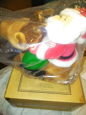 """Avon 2001 SANTA AND DASHER plush sings and talks Christmas 13""""x14"""" New in Box"""