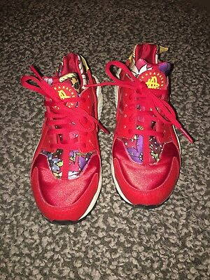 Nike Huaraches Limited Edition Red Floral Uk 4.5