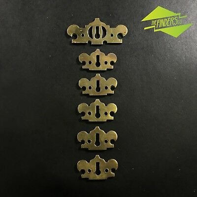 Fantastic Antique Vintage Set Of 6 Solid Brass Key Hole Covers Draw Furniture