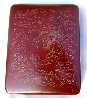 Vintage Chinese Silver & Gold Inlay Huanghuali Hard Wood & Lacquer Dragon Box