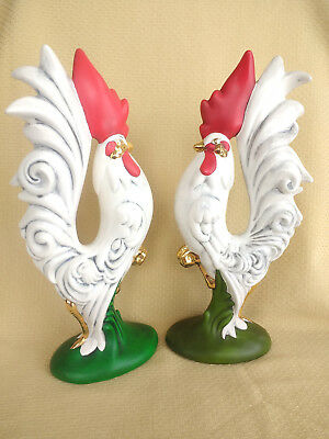 "VINTAGE Ceramic Rooster Chicken Pair Kitchen Farm Handmade Painted Mold 12"" Tall"