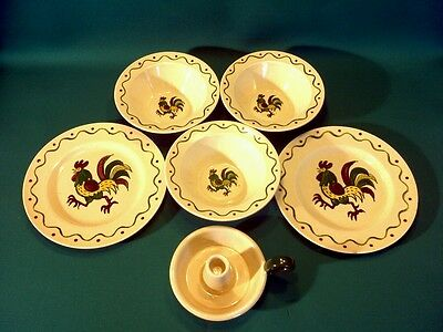 Nice lot (6) Vintage California Provincial by Metlox Poppytrail Vernon -Rooster