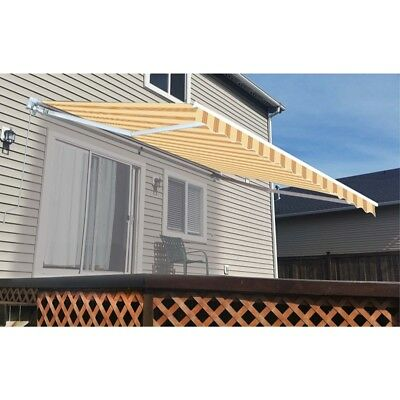 ALEKO Retractable Patio Awning 8 X 6.5 Ft Deck Sunshade Yellow Multiple Stripes