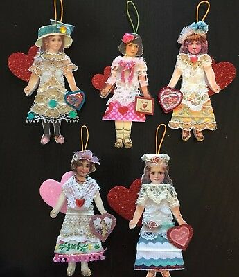 Lot of 5 NEW Victorian Valentine Girls Handcrafted Paper Doll Ornaments OOAK