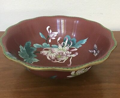 """Antique Chinese Cloisonné Red Enamel Butterfly Flowers Bowl Planter 11"""""""