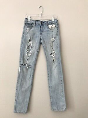 d843db9e2fd American Eagle Tomgirl Destroyed Jeans Womens 4 Short Light Wash Ankle F2749