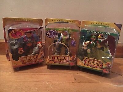 Rescue Heroes (3) Perry Chute, Brandon Irons, And Ariel Flyer New In Box