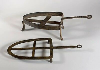 Two Antique Hand-Forged Wrought Iron Sad Iron Trivets - Primitive