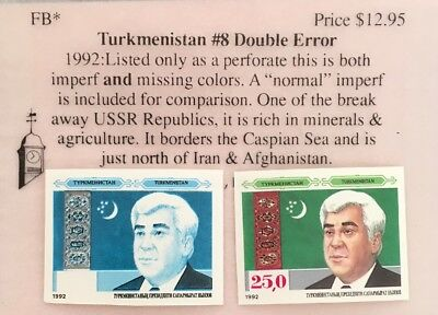 Turkmenistan No. 8 Imperf Double Missing Color & Number Errors MNHOG XF Z1/78
