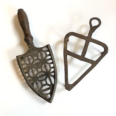 Two Antique Hand-Forged Wrought Iron Sad Iron Trivets - Primitive and Early
