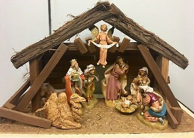 "Fontanini Nativity Set 7.5"" And Stable Italy 1983 -93 Italy Depose Roman"
